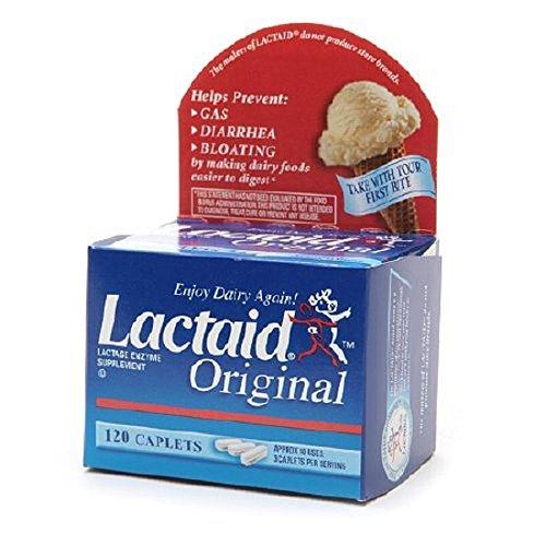 Lactaid Original - Lactase Enzyme Supplement - 5 mg / 9000 FCC Units Strength - Caplet - 120 per Box - MCK