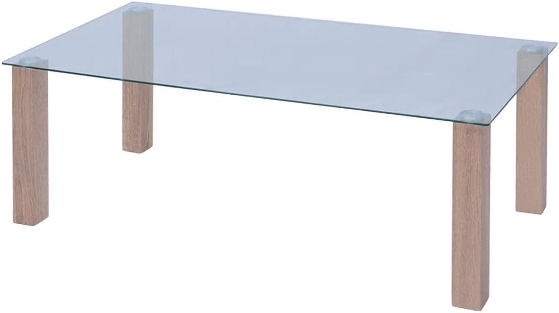 Festnight- Glas Couchtisch 120x60x43 cm  MDF Beine + Glastischplatte 6mm  Glastisch Beistelltisch Kaffeetisch Lounge Tisch