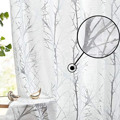 """Fmfunctex Silver Branch White Sheer Curtains for Living Room 96"""" Length Metallic Print Tree Curtain Panels with Linen Textured Drapes Bedroom Window Treatment Curtains 2 Pack"""