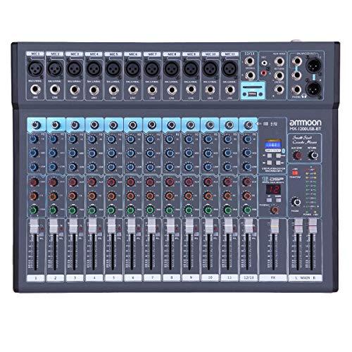 Mischpult,ammoon DJ Control • 12-Kanal DJ Mischer • 1200USB-BT Mischpult • 48-V Phantomspeisung Mixer • USB-Stick-Eingang mit Netzteil für Studio-Recording-Netzwerk • Live-Übertragung • DJ-Karaoke