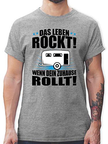 Hobby - Das Leben rockt! Wohnwagen schwarz - L - Grau meliert - Geschenk - L190 - Tshirt Herren und Männer T-Shirts