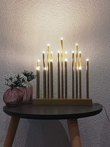 Bella-Vita GmbH LED Stimmungsleuchte 19 flammig Dekoleuchte Dekolampe Fensterbeleuchtung (goldfarben)
