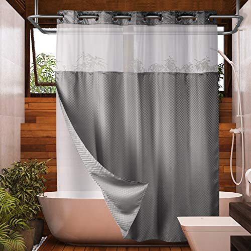 Lagute SnapHook Hook Free Shower Curtain with Snap-in Liner & See Through Top Window | Hotel Grade, Machine Washable & Water Repellent | 71Wx74L, Gray