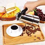 Cafetera duradera, 100 ml / 200 ml / 300 ml / 450 ml Acero inoxidable Moka Pot Espresso Cafetera Estufa para la oficina en el hogar, Cafetera(300ml)