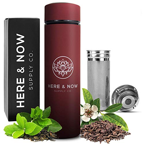 Multi-Purpose Travel Mug and Tumbler | Tea Infuser Water Bottle | Fruit Infused Flask | Hot & Cold Double Wall Stainless Steel Thermos | EXTRA LONG INFUSER | by Here & Now Supply Co. (Sacred Red)