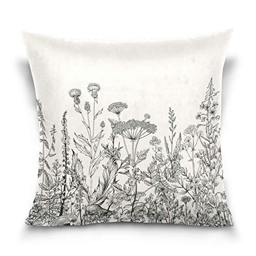 HMZXZ Funda de almohada decorativa de 50,8 x 50,8 cm, diseño de flores silvestres, color blanco y negro