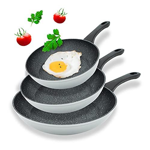 Michelino livemore Pfannenset 3-TLG, 20, 24 und 28 cm Pfanne, Bratpfannen auch Induktionsherd geeignet, mit Marmor Granit Keramik Antihaftbeschichtung Pfannen Bratpfanne