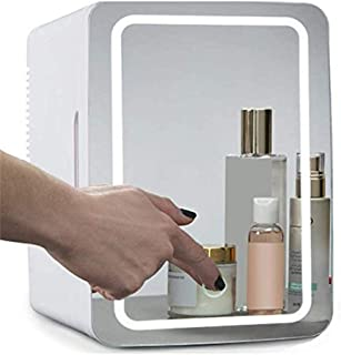 Beauty Mini Fridge/Portable Cosmetic Refrigerator,Glass Panel + LED Lighting,with Hot and Cold Setting, Used for Makeup an...
