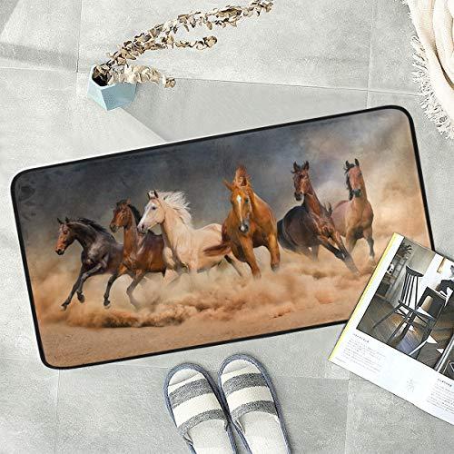 Naanle Animal Horse Anti Fatigue Kitchen Floor Mat, Running Horse Non Slip Absorbent Comfort Standing Mat Kitchen Runner Rug for Hallway Entryway Bathroom Living Room Bedroom 39 x 20 Inches