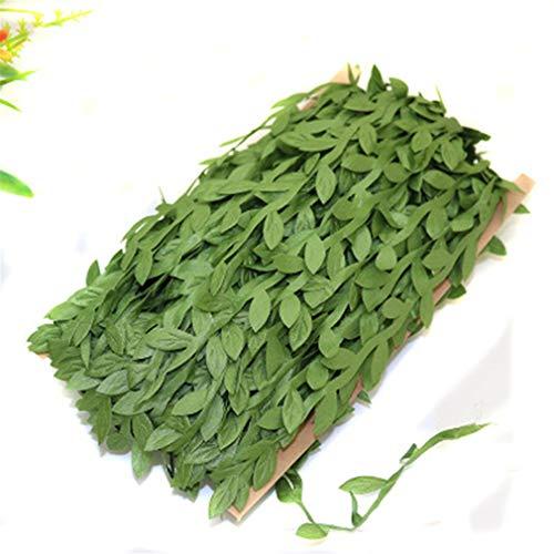 UINKE Garland Fake Ivy UV Resistant Fake Vine Green Leaves Fake Plants Hanging Vine Plant for Wedding Party Garden Wall Decoration,Grass Green