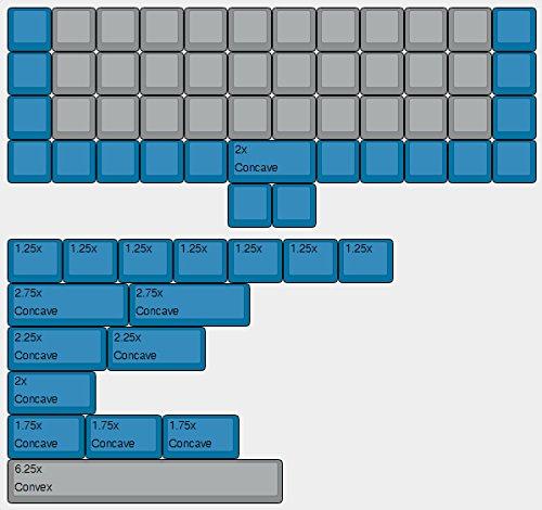 YMDK XDA Teclado completo en blanco azul para teclado mecánico MX Steelseries Ergodox Filco Cosair Noppoo Planck IKBC Vortex Core 40 universal Vortex