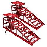 WilTec Rampa de Carga Set 2X Rampas con Gato hidráulico Coches Integrado 2000kg Taller Garaje Mantenimiento