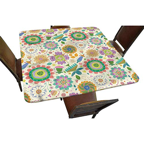 Decorative Elastic Edged Square Fitted Tablecloth,Doodle Spring Nature Polyester Indoor Outdoor Fitted Table Cover for Buffet Table, Parties, Holiday Dinner, Wedding & More Fit Square Table up to 24'