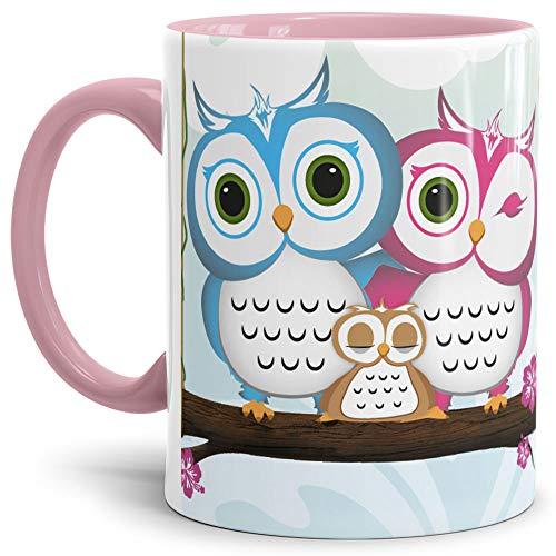 Eulen Tasse Comic - Kaffeetasse/Mug/Cup Innen und Henkel Rosa - Qualität Made in Germany