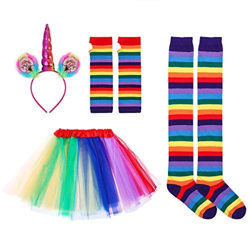 OULII Einhorn Horn Stirnband Einhorn Haarreif mit Ohren Tutu Rock Kniestrümpfe Streifen und Lange Handschuhe Einhorn Kostüm Damen Erwachsenen