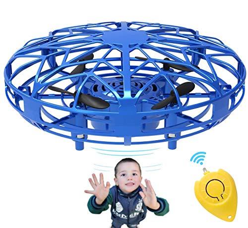 Bdwing Mini Drones para niños y Adultos, RC UFO Helicóptero con Luces LED, Accionado a Mano Juguete Bola Volador Interactivo de inducción infrarrojo, Regalos para niños y niñas, Azul