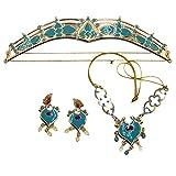 AERVEAL Queen Band, Jasmine Royal Crown Diadema Pendientes Colgante Collar Conjunto de Joyas Vestido Verde Azulado Kit de Disfraz de Princesa para Mujeres, niñas, Adultos, niños