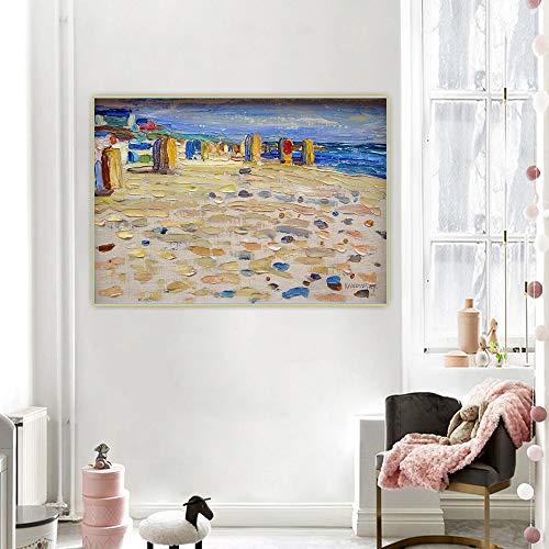 "Wassily Kandinsky ""Sillas de playa"" Resumen cuadros decoracionlienzos decorativos cuadros decoracion dormitorios decoración pared lienzos decorativos80x112cm 31 ""x44"" sin marco"