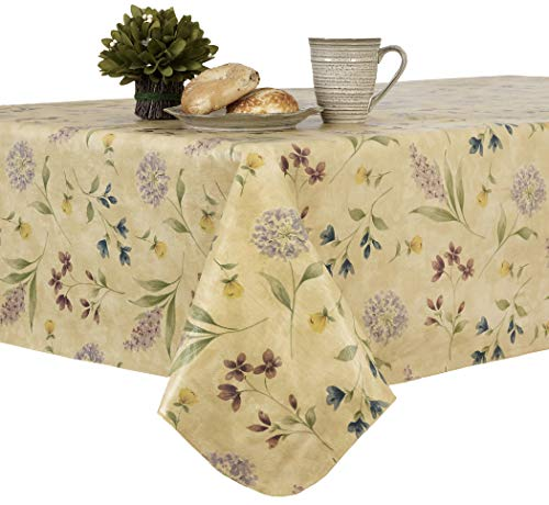 EVERYDAY LUXURIES Botanical Toss Flannel Backed Indoor Outdoor Vinyl Table Linens, 90-Inch Round Tablecloth