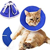 Yagamii Adjustable Cat Recovery Collar E-Cone Soft,Elizabethan Protective Cone for Surgery Recover,Pet Cotton Cloth Comfortable Collars for Small Medium Large Cats Dogs Puppies Kitten