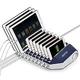 BESTEK USB Ladegerät Mehrfach 10 Port USB Ladestation (1 QC 3.0), 2 Steckdosen Dockingstation Organizer, mit Schalter für Handy und Tablet, 66W