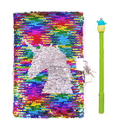 Sequin Notebook – 2 Color Mermaid Reversible Sequin Journal – Magic Travel Journal Notebook Gift for Adults and Kids (Unicorn-Rainbow)