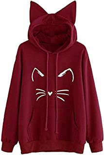 Womens Cat Ear Solid Long Sleeve Hoodie Pullover Tops Blouse