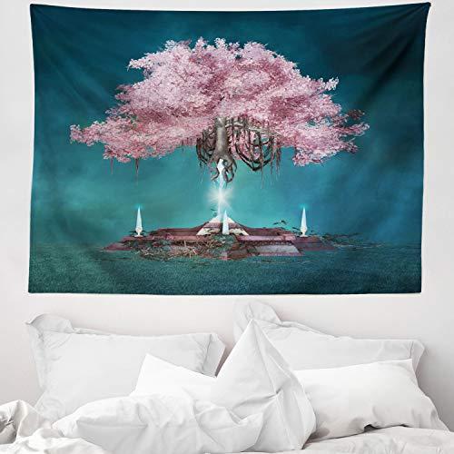 ABAKUHAUS Magia Tappeto da Parete e Copriletto, Pink Blossom Art, per la Camera da Letto, 150 x 110 cm, Lilla Blu Petrolio