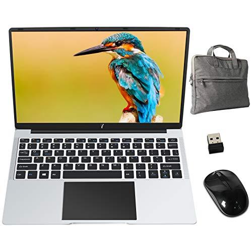PC Portatile 14.1 Pollici FHD 1920 x 1080 Notebook con Intel® Celeron 6 GB RAM 64 GB SSD Windows 10 64 Bits, Supporta SD/TF 512GB, WiFi | Webcam | Bluetooth | HDMI, con Mouse e Borsa PC, Argento Scuro