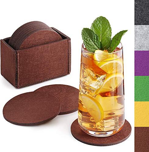 Sidorenko Filz Untersetzer rund für Gläser - 10er Set Ink. Box - Design Glasuntersetzer in braun für Getränke, Tassen, Bar, Glas - Premium Tischuntersetzer Filzuntersetzer