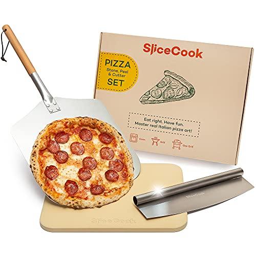 SliceCook Pizzastein, Pizzaschieber, Pizza-Set - 3in1 Pizzazubehör Set für Backofen, Grill- Cordierite Backstein, Edelstahl Schneider für Pizza, Aluminium Pizza Paddel mit abnehmbarem Griff