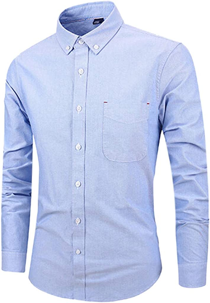 MODOQO Men's Long-Sleeve Solid Button Down Shirts for Office Wedding Party