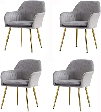 FETYDSE Dining Chairs Set of 4 with Metal Legs Velvet Seat and Backrests Living Room Armchair Adjustable Feet (Color : Grey)