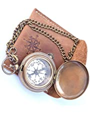 NEOVIVID Handgemaakte Messing Push Open Kompas op Ketting met Lederen Case, Pocket Kompas, Gift Kompas
