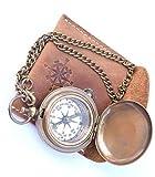 Neovid Kompass an Kette mit Lederetui, handgefertigt, aus Messing, Taschenkompass, Geschenk