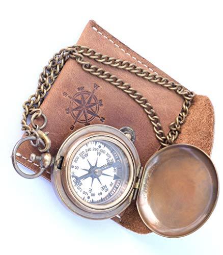 Neovid Handgefertigter Kompass aus Messing mit Ledertasche, Taschen-Kompass, Geschenkkompass