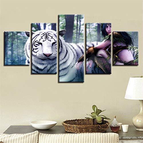 QAZWSY muurkunst 5 stuks witte tijger dier landschap canvas schilderij afbeelding decoratie slaapkamer 30x40 30x60 30x80cm Frame