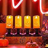 4 velas de calabaza de Halloween, luces de vela sin llama de color naranja de Halloween, luces LED de calabaza con menos llama, funciona con pilas, decoración de otoño