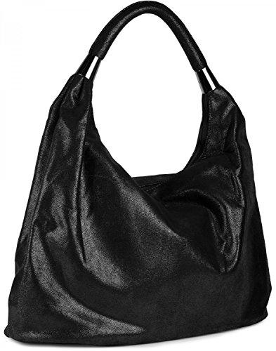 styleBREAKER Borsetta, Borsa vintage a forma di sacchetto, borsa a spalla, borsa a tracolla, borsa, da donna 02012050, colore:Nero lucido