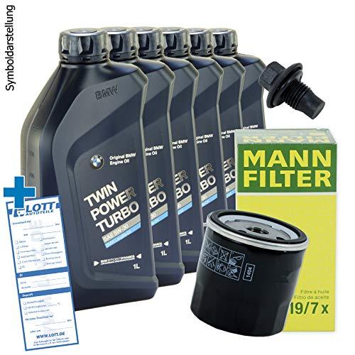 Ölwechsel Set Inspektion MANN Ölfilter HU6004 x + 6 Liter Original Motoröl Twinpower 5W-30 Motorenöl Longlife 04 + Ablassschraube // F20 F21 E90 E91 F30 F31 F10 F11