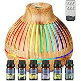 Diffuser & Top 6 Essential Oils | Aromatherapy Diffuser with Essential Oil Set | 400ml Ultrasonic Diffusers | Essential Oil Diffuser with Remote Control, 4 Timer & 15 Color Lights for Home