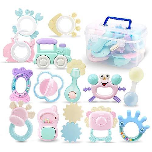 14 Pack Rassel Beißring Set Baby Spielzeug Shaker Greifen Rassel Baby Kleinkind Neugeborenen Spielzeug Frühe Lernspielzeug Kann Bei 100℃ Sterilisiert Werden,Für 0-6-12-18 Monate Baby Geschenke