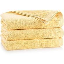 ZWOLTEX Juego de 3 toallas de baño antibacterianas, antifúngicas, suaves, de 100% algodón egipcio, fabricadas en la UE, toallas para la cara, toallas de invitados y toalla de baño muy suave (paja)