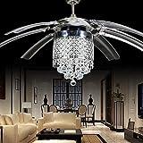 Luz de ventilador de techo de cristal moderna con 8 hojas de acrílico transparentes plegables Control remoto de despegue invisible y luz-fan_and_RC_set_2_Diameter_42_inch_220V