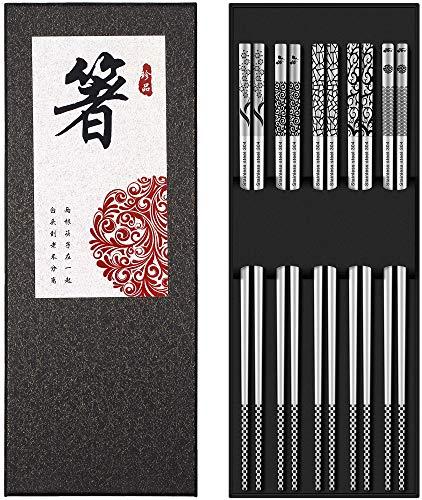 Metal Chopsticks Reusable 18/8 Stainless Steel Chopsticks Multipack Dishwasher Safe Chop Sticks Cute Laser Engraved Non-slip Japanese Korean Chopstick for Cooking Eating 9 1/4 Inches 5 Pairs Gift Set