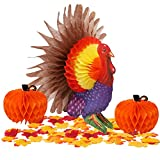 yosager 3 Pack Thanksgiving Table Decorations Tissue Turkey and Pumpkin, with 50 Pcs Artificial Maple Leaves, Honeycomb Decor Thanksgiving Centerpiece Party Accessory Table Supplies