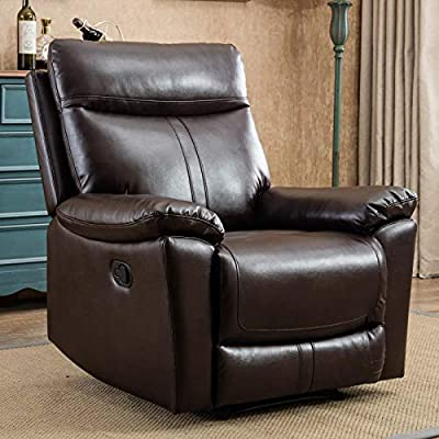 CANMOV Leather Recliner Chair, Classic and Traditional Manual Recliner Chair with Overstuffed Arms and Back