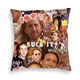 Nezuko Nic Cage Collage Velvet Throw Pillow Covers Cozy Velvet Square Throw Pillow Case Home Decoration for Bed Couch Sofa Living Room Cushion Case 18'X18'