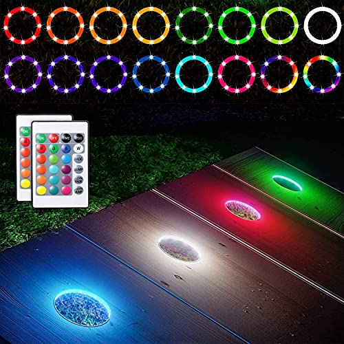 LED Cornhole Lights, Remote Control Cornhole Board Ring LED Light, RGB 16 Multi Color Change by Yourself, Great Addition Gift for Bean Bag Toss Corn Hole Game in The Family Backyard at Night, 2 Set
