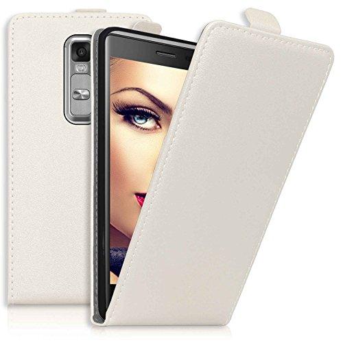 mtb more energy® Flip-Hülle Tasche für LG Class/LG Zero (H650, 5.0'') - Weiß - Kunstleder - Schutz-Tasche Cover Hülle
